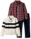 Nautica Boys' Three Piece Set with Woven Shirt, Striped Shawl Sweater, and Denim Jean
