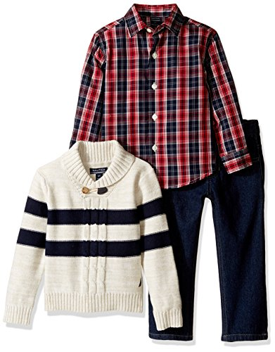 Toddler Boys 3 Piece Sweater - Nautica Little Boys' Toddler Three Piece Set with Woven Shirt, Striped Shawl Sweater, and Denim Jean, Oat Heather/Red, 2T