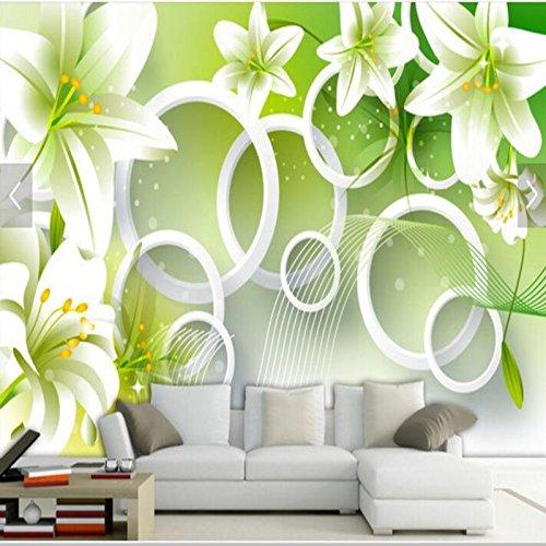 Azalea Pattern - ShAH Custom 3D Wallpaper Mural Floor Sticker Flowers Hand-Painted Lily Pattern Petal Azalea Flowers Living Room Tv Backdrop 3D Wallpaper Mural Floor Sticker For Walls 3D 150cmX100cm
