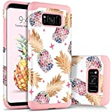 BENTOBEN Samsung Galaxy S8 Case, Pretty Pineapple Pattern Design Phone Case, Slim Heavy Duty 2 In 1 Hard PC Soft TPU Rubber Glossy Shockproof Protective Case Cover for Girls, Women, White/Rose Gold