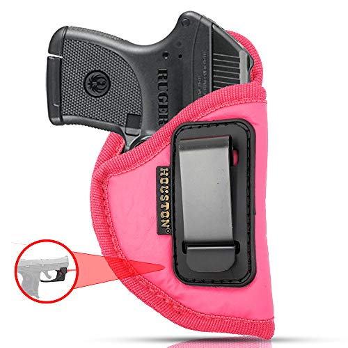 IWB Woman Pink Gun Holster - Houston - ECO Leather Concealed Carry Soft: Fits Any Small 380 with Laser, Keltec, Ruger LCP, Diamond Back, Small 25 & 22 Cal with Laser (Right) (CHPK-71AL-RH) (Best Carry Gun For Women)