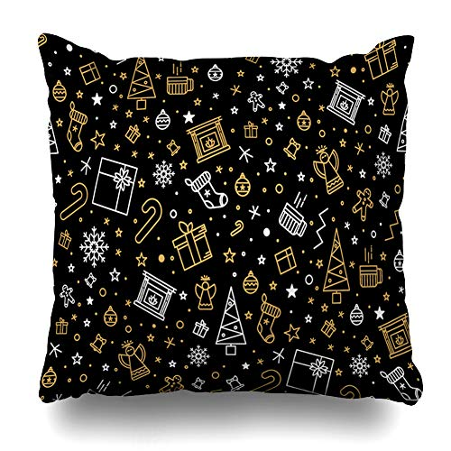 Ahawoso Throw Pillow Cover Gold Yellow Black Christmas Pattern Holidays Art Merry Angel Bell Celebration Creative Design Decorative Pillowcase Square Size 16