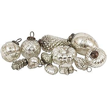 "Creative Co-Op XC5499 Silent Night Set of 12 6""-3""H Mercury Glass Ornament,Silver"