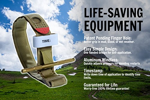 Recon-Medical-TANTQTourniquet-TAN-Gen-3-Mil-Spec-Kevlar-Metal-Windlass-Aluminum-First-Aid-Tactical-Swat-Medic-Pre-Hospital-Life-Saving-Hemorrhage-Control-Registration-Card-1-Pack