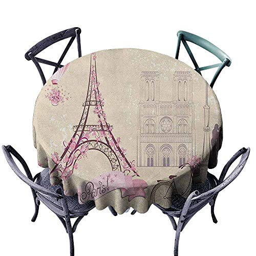 Mannwarehouse Kiss Wrinkle Resistant Tablecloth Floral Paris Symbols Landmarks Eiffel Tower Hot Air Balloon Bicycle Romantic Couple Easy Care D47 Ivory Pink