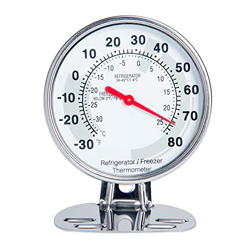 Fridge Thermometer Freezer Thermometer with Both Fahrenheit & Celsius Degree Classic Design Stainless Steel Large Dial Refrigerator Thermometer