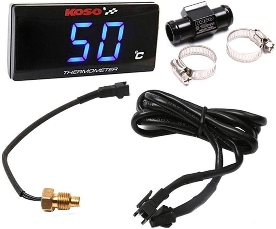 Universell Passend Für Motorrad Thermometer Instrumente Wassertemperatur Digitalanzeige Plus Messgerät Sensoradapter Blau 22mm Adapter Auto