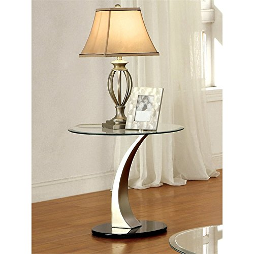 Furniture of America Mansa Round Glass Top End Table in ()