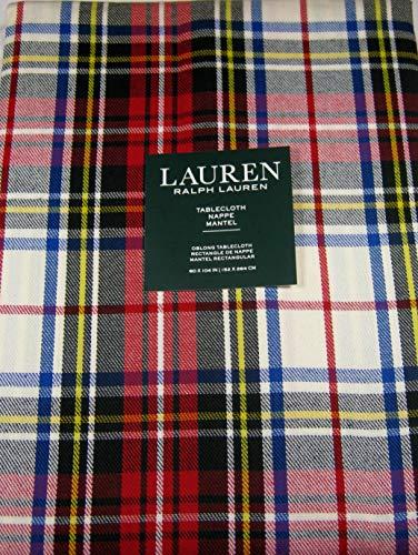 Lauren Ralph Lauren Gretchen Tartan Ivory 60 x 104 Inch Tablecloth
