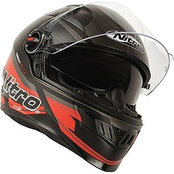 187201M07 - Nitro N2200 Veloce DVS Motorcycle Helmet M Satin Black Gun Red (07): Amazon.es: Deportes y aire libre