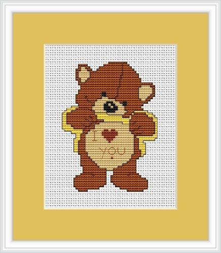 Love Me Bear Cross Stitch Kit Luca-S 7.5cm x Lucas 10cm by Lucas x 50ccdc