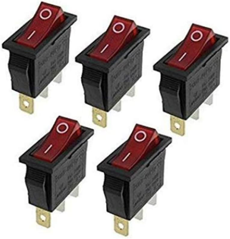 5PCS Mini Snap-In 3 Pin Round Red Spdt On-Off Rocker Switch Diy Ic Develop