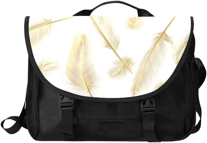 Crossbody Travel Bag Beautiful Gold Glitter Feathers Multi-Functional Laptop Slim Bag Fit for 15 Inch Computer Notebook MacBook