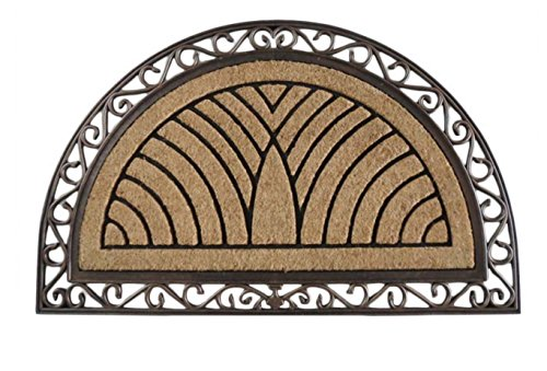 A1HC FIRST IMPRESSION Half Round Rubber and Coir Doormat | 30 x 48 Inch | Standard Double Doormat with Copper Finish | Large Size Doormat |Rubber Backed | Outdoor Mat | Durable and Long Lasting (Half Door Mats Round)