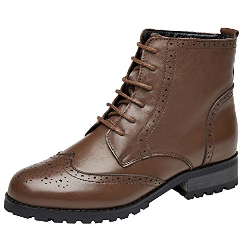 High Combat Ankle Brown Women's Leather Boots Stylish Brogues rismart qfwt8EYq