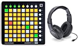 Novation LAUNCHPAD MINI DJ Controller with Ableton Live Lite 9 and 64 Square Multi Color Buttons + Samson Headphones