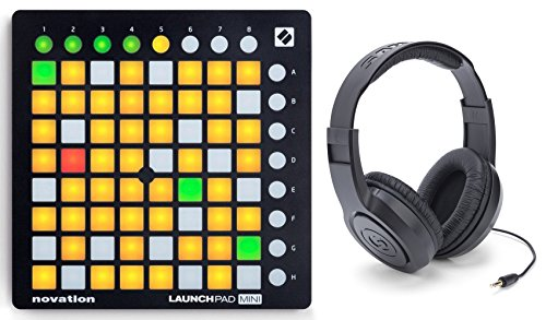 Novation LAUNCHPAD MINI DJ Controller with Ableton Live Lite 9 and 64 Square Multi Color Buttons + Samson Headphones by Novation