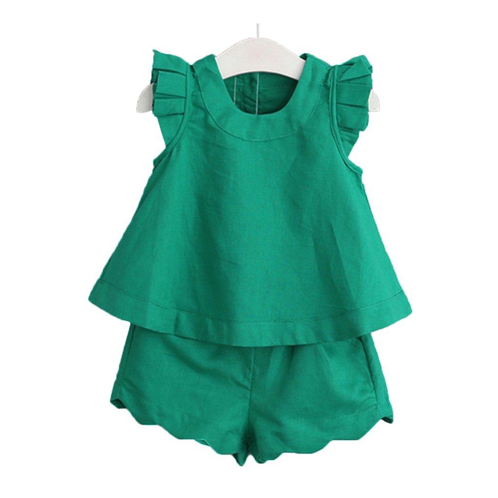 fibgihc Summer Children's Round Neck Sleeveless T-Shirt + Shorts/Off-Shoulder Top Puffy Pleated Skirt Set