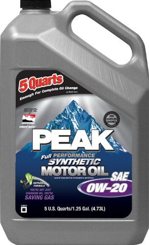 Peak P2MS05 0W-20 Synthetic Motor Oil - 5 Quart Jug, (Case of 3)
