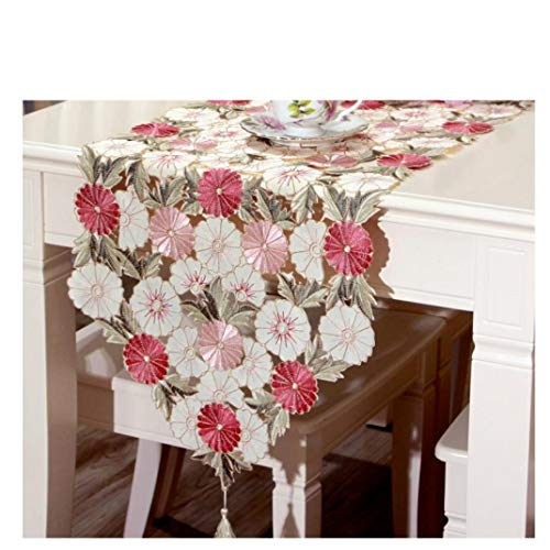 US-ROGEWIN Table Runner Classical European Refined Soft Embroidered Reusable for Living Room Cafe Home Hotel Decoration