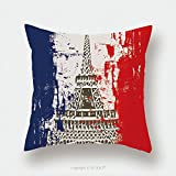 Custom Satin Pillowcase Protector French Flag With Eiffel Tower Illustration_13093835 Pillow Case Covers Decorative