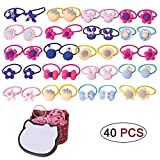 BTshine Cartoon Elastic Hair Ties - 40 PCS (20 Pairs) Toddler Ponytail Holder Small Ropes for Girls, Kids,Thin Hair, (Red Box)