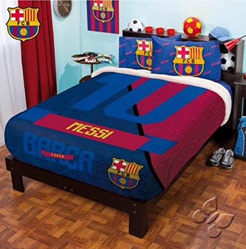 BARCELONA MESSI FC FOOTBALL CLUB OFFICIAL LICENSED FUZZY FLEECE BLANKET TWIN/FULL/QUEEN
