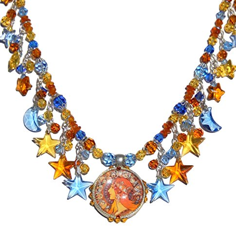 Art Nouveau Look Zodiac Pendant, Alphonse Mucha, Swarovski Stars