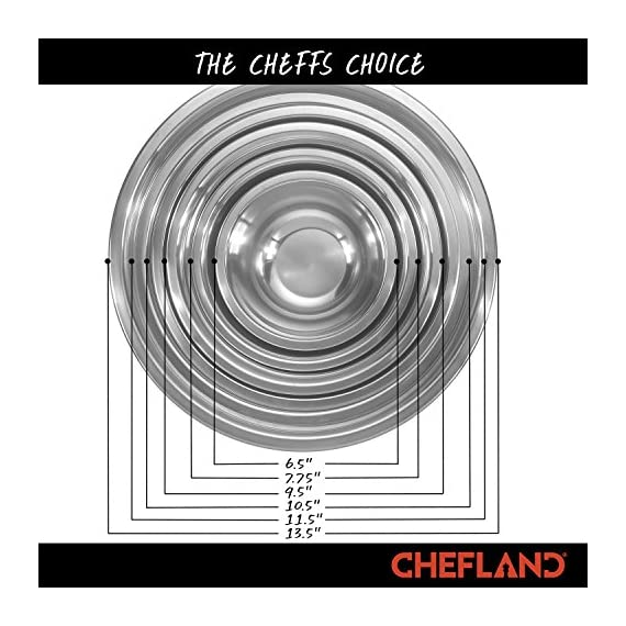ChefLand Set of 6 Standard Weight Mixing Bowls, Stainless Steel, Mirror Finish, 0.75, 1.5, 3, 4, 5, and 8 Qt. (Mixing Bowl Set Of 6) 2 SET OF 6 ESSENTIAL SIZES - 0.75, 1.5, 3, 4, 5, and 8 Quart bowls ideal for whisking, mixing, marinating and serving. Prepare a light garnish or chop a colorful, healthy salad into the bowl of your choice and enjoy a sleek transition straight from the kitchen counter to charming serving. COMPACT STORAGE CAPABILITY - Who has space in their cupboards for loose bowls rolling around? ChefLand makes your life that bit more simple with these six, stackable, bowls that are easy to store and organize. With a lightweight, sleek and easy to use design, these bowls really do administer a professional result. STYLISH YET ROBUST - Designed with durable 18/8 stainless steel construction and finished with a reflective, mirrored exterior these bowls ensure both attractive presentation and high quality strength. A flat sturdy base and curved lip will optimize function, for a safe and sturdy mix or blend. ChefLand metal mixing bowls are rugged enough to stand up to everyday use without suffering any undue damage or wear and tear. Prepare and serve your dishes with pride, pleasure and confidence... Why not?