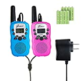 Mini Walkie-Talkies - GEMEE Kid Gift Long Range UHF462-467MHz 22 Channel FRS/GMRS 2-Way Raidos Walkie Talkies with Rechargable Batterry and Charger Up to 3 Miles- 2 Pcs ( Pink & Blue )