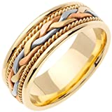 14K Tri Color Gold Braided French Braid Men's Comfort Fit Wedding Band (7mm)