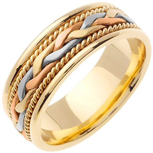 14K Tri Color Gold Braided Fre