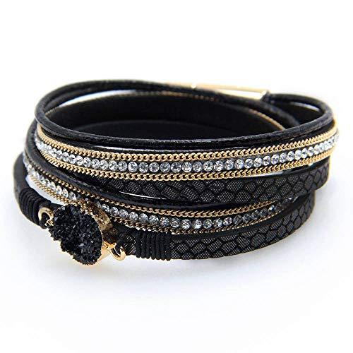 Fesciory Women Multi-Layer Leather Wrap Bracelet Handmade Wristband Braided Rope Cuff Bangle with Magnetic Buckle Jewelry (Black Stone1)