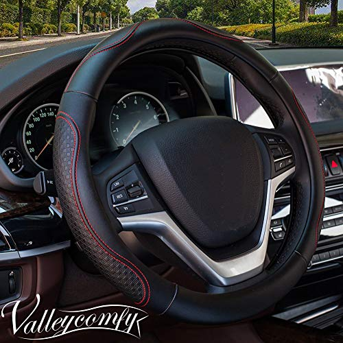 (Valleycomfy Steering Wheel Covers Universal 15 inch - Genuine Leather, Breathable, Anti Slip & Odor Free (Black with Red)