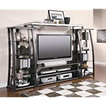 Inland Empire Furniture Minelli Metal Tempered Glass Flat Panel TV  Entertainment Center