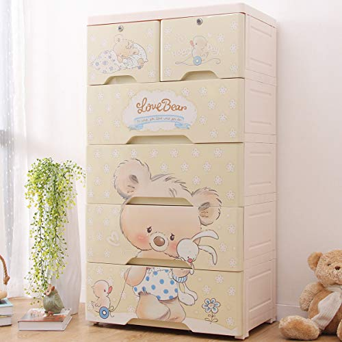 Nafenai Plastic Drawers Storage Cabinets for Children with 5 Drawers for Kids Room,Bedroom,Nursury,Home (23.6 inches Wide)