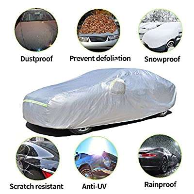 AOYMEI Full Car Cover Waterproof All Weather, Automobile Cover Sunproof Rainproof Windproof Scratch Resistant Reflective Strips Cotton Inside (Sedan, fit Length (166''-179''): Automotive