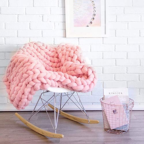 Arm Bed Sofa (Yijiujiuer Chunky Knit Blanket Giant Throw Merino Wool Yarn Hand Made Bed Sofa Chair Mat (Pink 47