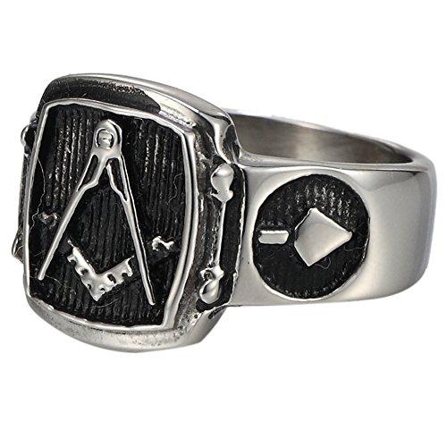 - Retro Stainless Steel Mason Freemason Black Vintage Solid Ring