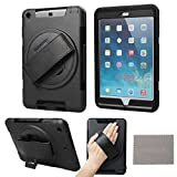 xhorizon ™ High Quality Robust Hardshell Portable Handheld Rotating Holder Impact & Splash Resistant Case Cover With PU Leather Hand Strap [Suitable for commuting on the train] And Stand Function For Apple iPad mini 1/2/3 And Free Cleaning Cloth ZA5