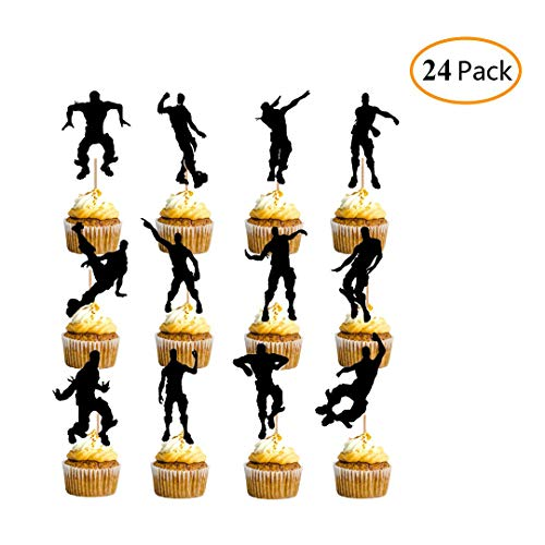 monochef Cake Topper Happy Birthday Decoration Video Game Party Decoration Supplies with Cupcake Toppers - 24 Pack