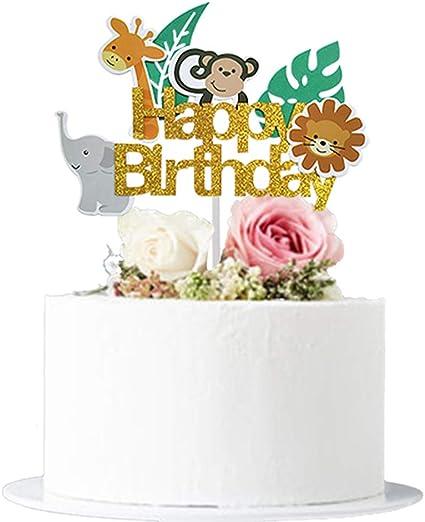 Enjoyable Amazon Com Glitter Woodland Creatures Elephant Monkey Giraffe Personalised Birthday Cards Xaembasilily Jamesorg
