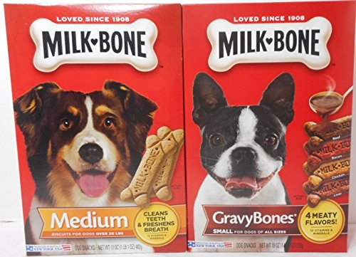 17 Biscuit - Milk Bone 17 oz Pkg Medium Biscuits for dogs over 20 lbs + 19 oz Pkg Small Gravy Bones for dogs of All Sizes