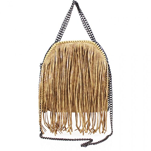 Shoulder Brown New Ladies Stella Fringe Design Handbag Tassel Bag Tote Work Womens 0ZPqwvq