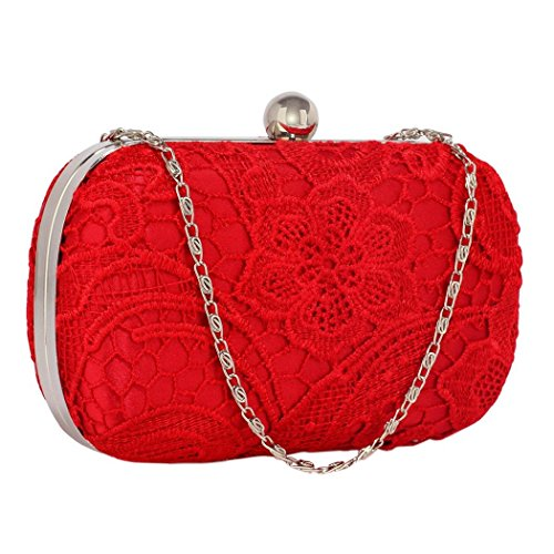 Wedding Ladies Red Bag Ladies Party Prom Evening Lace Lace Clutch 15qwvY