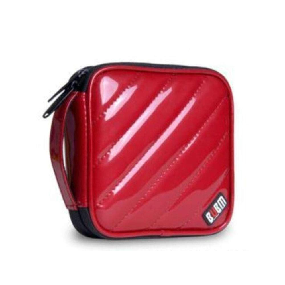 QINRUIKUANGSHAN Car Car CD Package, 32 Car Home DVD Storage Box, Round Set Large Capacity CD Package, Storage Box VCD Disc Package, PU Leather (Color : Red) by QINRUIKUANGSHAN
