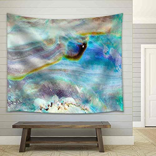 Iridescent Nacre Mother of Pearl Inner Side of Paua Perlemoen or Abalone Shell Macro Background Texture Pattern Fabric Wall