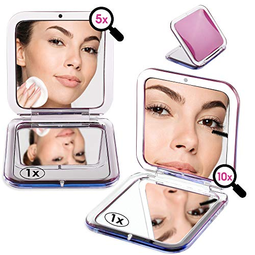2PCS Magnified Compact Mirror for Purses, 10X 5X Magnifying Makeup Mirror, 3.3inch Small Pocket Mirror, Double-Sided…