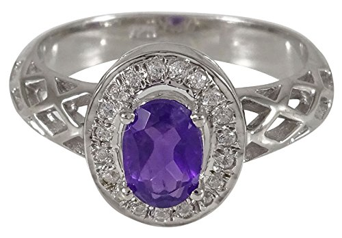 African Designer Ring (Banithani 925 Sterling Silver New Indian Fashion African Amethyst Gemstone Ring Jewelry)