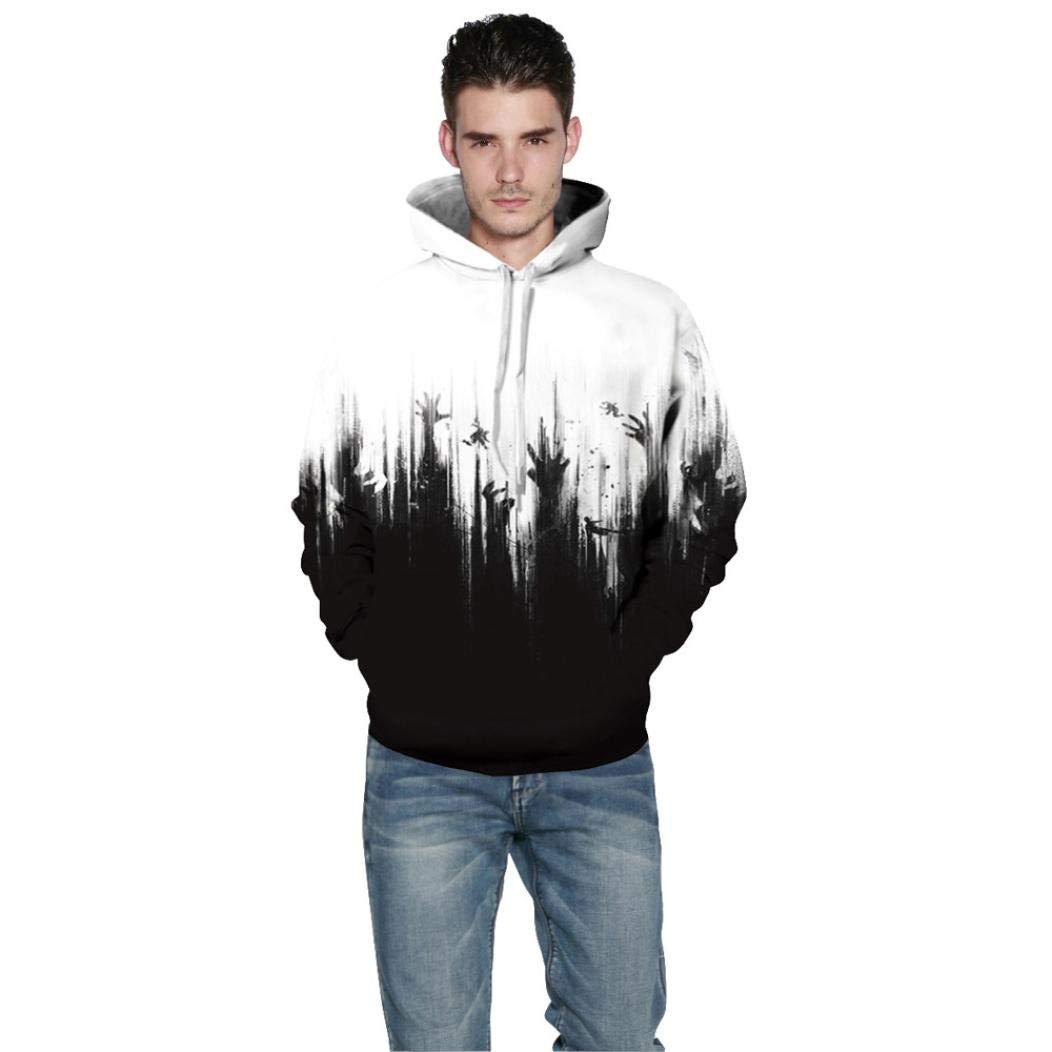 Rucan Halloween Women Men Skeleton 3D Print Long Sleeve Hoodie Sweatshirt Pullover Top by Rucan (Image #2)